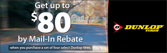 $80 by Mail-In Rebate On select Dunlop tires