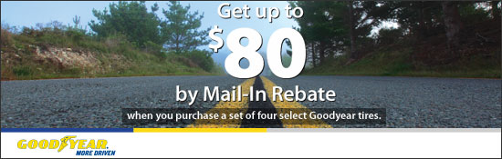 $80 by Mail-In Rebate On select Goodyear tires