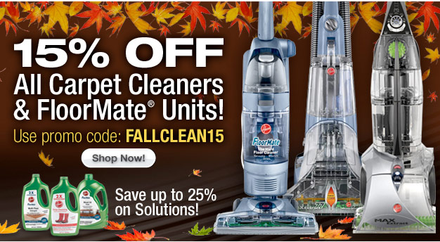 15% OFF All Carpet Cleaners and FloorMate Units