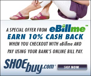10% cash back when you checkout using eBillme