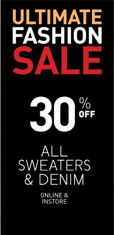 Get 30% Off All Sweaters & Denim