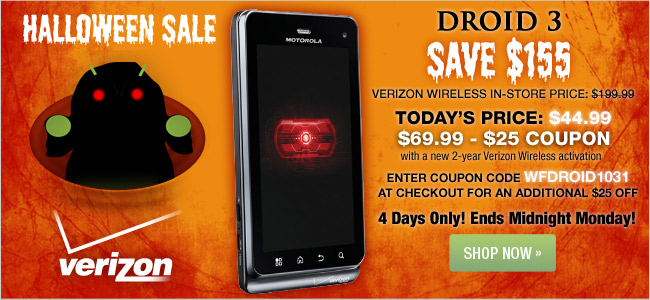 Save $25 on the DROID 3 for Verizon Wireless