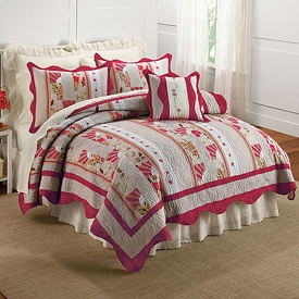 Save On French Rose Handcrated Quilt with Sham