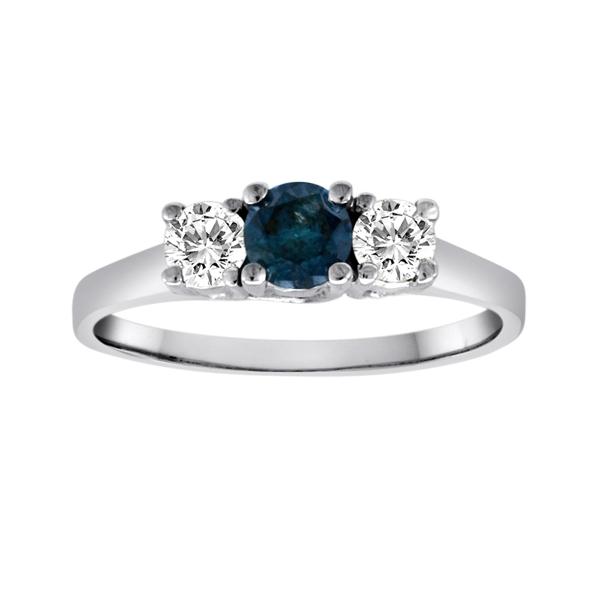 10% off 14K White Gold 3 Stone Round Blue Diamond Ring (1/4 ctw)