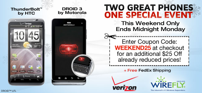 Get the DROID 3 for $25 with a new Verizon Wireless contract