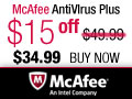 $15 Off McAfee AntiVirus Plus 2012