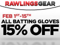 Save 15% Off on All Batting Gloves