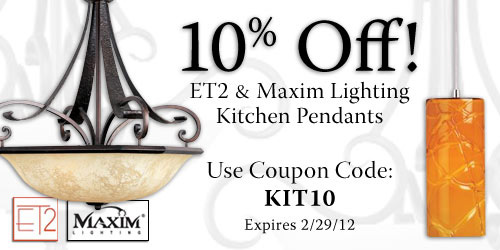 Save 10% on all Maxim & ET2 Kitchen Pendants