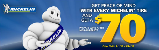 Michelin Buy 4 and Get a $70 MasterCard Prepaid Card