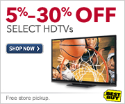 5%-30% off select HDTVs