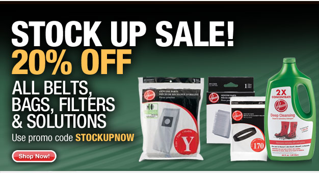 20% off Bags, Belts, Filters and Solutions