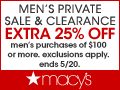 25% off at the Men's Private Sale and Clearance