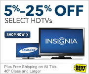 5%-25% off select HDTVs, plus free shipping on all TVs 46 class and large
