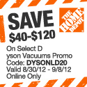 $40 - $120 on Select Dyson Vacuums
