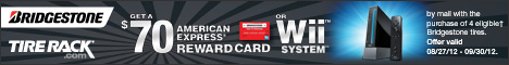 Bridgestone, Get Up to a $70 Reward Card or a Wii System