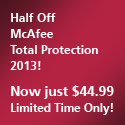 50% Off McAfee Total Protection 2013