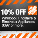 Save 10% on Whirlpool, Electrolux & Frigidaire appliances $397 or more