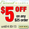 Save $5 on All CurrentLabels.com Orders Over $25