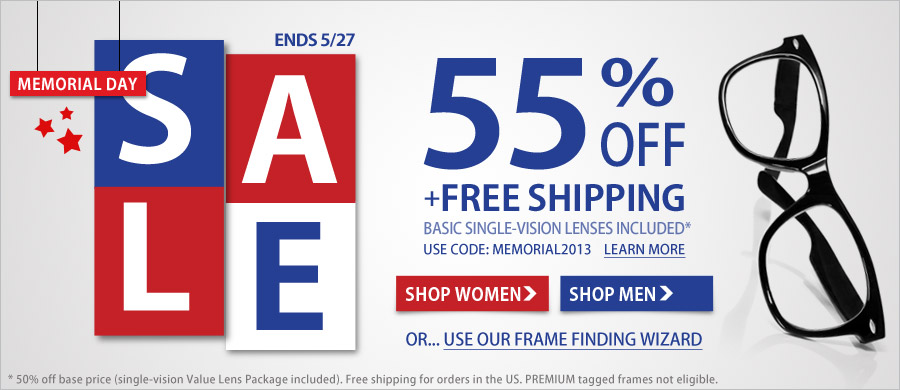 55% off all frames+ free shipping for all US orders