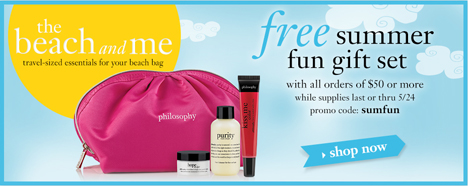 Free gift set with all orders $50 or mor