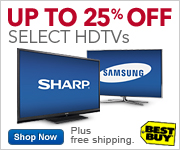 Up to 25% Off Select HDTVs, Plus Free Shipping