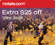 $25 off your next booking of $200 or more at Hotels.com