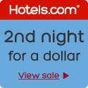 Buy one night, get the 2nd night for a dollar at Hotels.com